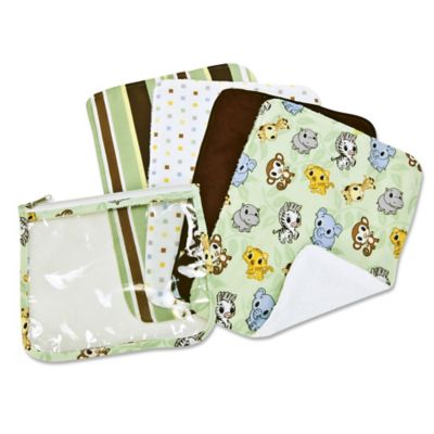 Trend Lab® 5-Piece Chibi Zoo Burp Cloths with Zippered Pouch