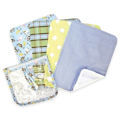 Trend Lab® 5-Piece Barnyard Baby Burp Cloths with Zippered Pouch