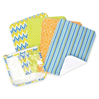 Trend Lab® 5-Pack Levi Burp Cloth Set with Zippered Pouch