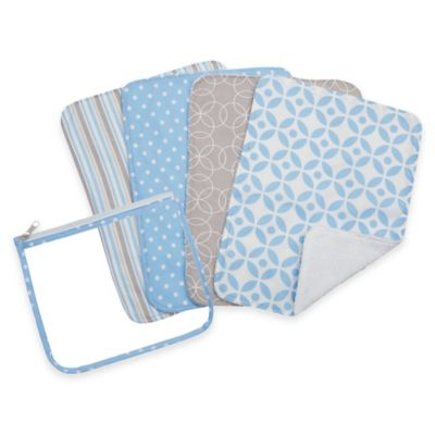 Trend Lab® 5-Pack Logan Burp Cloth Set with Zippered Pouch
