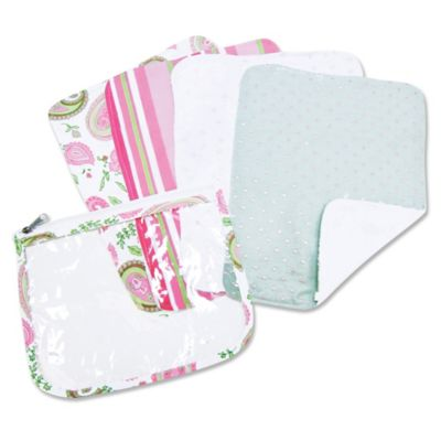 Trend Lab® 5-Piece Paisley Park Burp Cloth Set with Zippered Pouch