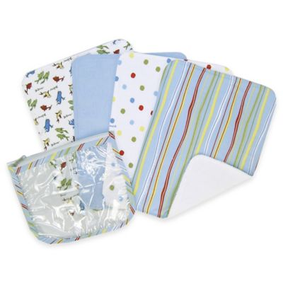 """Trend Lab® 4-Pack Dr. Seuss™ """"One Fish Two Fish"""" Burp Cloth Set with Zipper Pouch"""