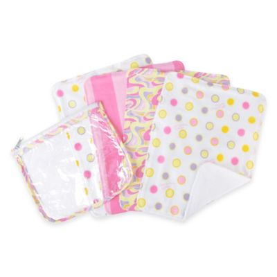 "Trend Lab® 5-Pack Dr. Seuss ""Oh, the Places You'll Go!"" Burp Cloth Set w/Zippered Pouch in Pink"