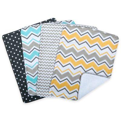 Trend Lab® 4-Pack Zigzag Burp Cloth Set in Grey