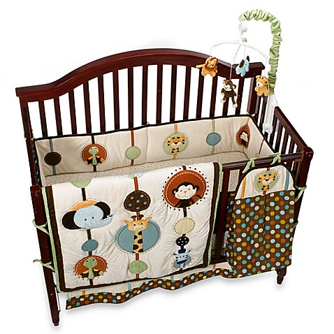 Jungle Tales 6-Piece Crib Bedding Set and Accessories by NoJo, 100% Cotton