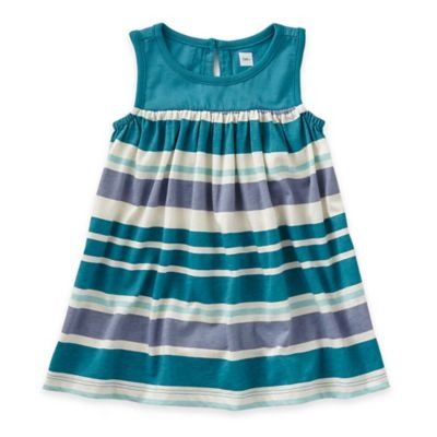 Tea Collection Size 3-6M Ombrello Striped Sleeveless Dress in Teal/Grey