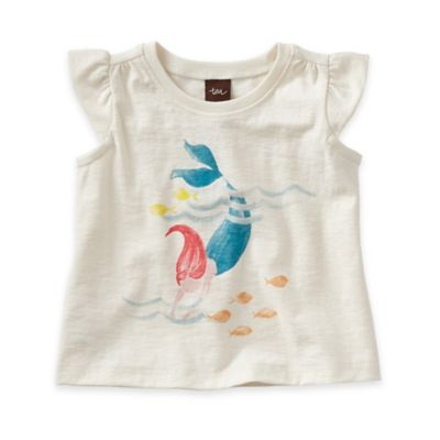 Tea Collection Size 3-6M Sirena Mermaid Graphic Short Sleeve T-Shirt in Oatmeal