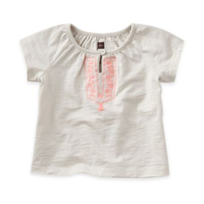 Tea Collection Size 3-6M Palazzo a Mare Short Sleeve Top in Grey/Pink