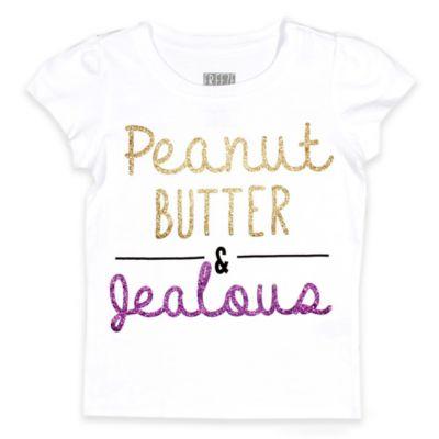 "Freeze Size 12M ""Peanut Butter & Jealous"" Glitter Short Sleeve T-Shirt in White"