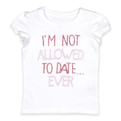 "Freeze Size 12M ""I'm Not Allowed to Date Ever"" Flutter Sleeve T-Shirt in White"