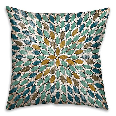 Leafies Square Throw Pillow In Blue Gold Www