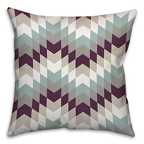 White Throw Pillows Bed : Purple Tribal Geo Square Throw Pillow in White/Blue - Bed Bath & Beyond