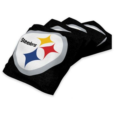 NFL Pittsburgh Steelers 16 oz. Duck Cloth Cornhole Bean Bags in Black (Set of 4)