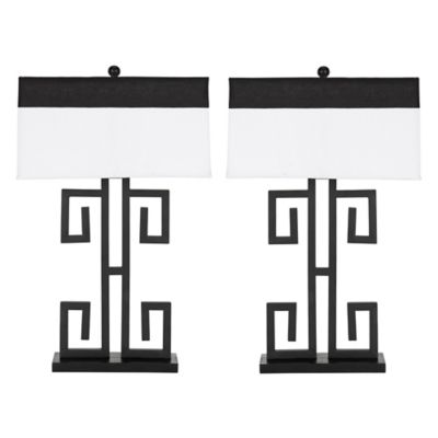 Safavieh Greek Key 1-Light Table Lamp with Cotton Shade (Set of 2)