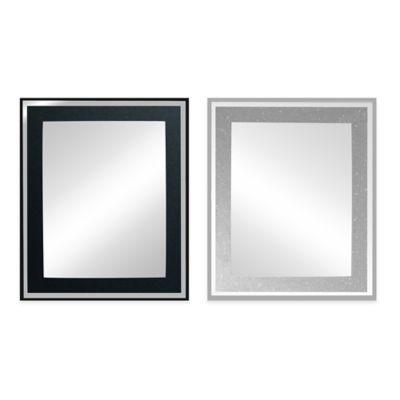 Decorative 19.75-Inch x 23.63-Inch Rectangular Glitter Mirror in Black