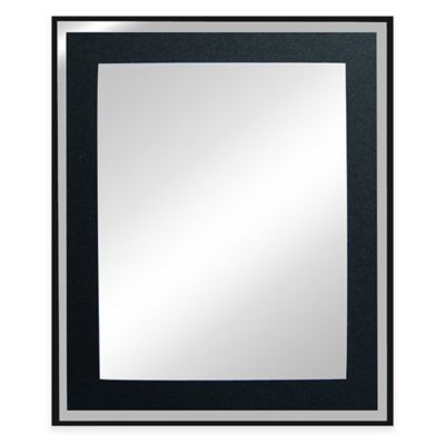 Decorative 19.75-Inch x 23.63-Inch Rectangular Glitter Mirror in Black