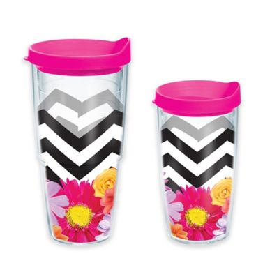 Tervis® Black and White Chevron Floral 24 oz. Wrap Tumbler with Lid