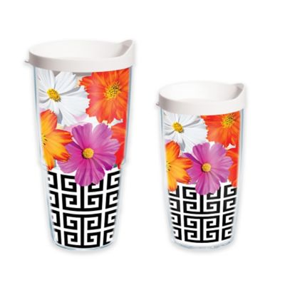 Tervis® Black and White Greek Key Floral 24 oz. Wrap Tumbler with Lid