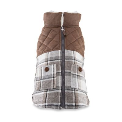 Friends Forever Archie Small Tweed Plaid Harness Pet Coat Set in Taupe
