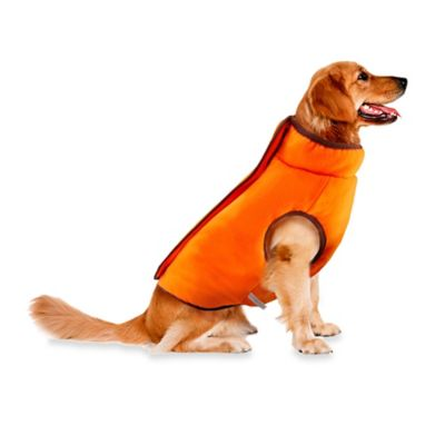 Track & Tail Hunter Large Reversible Zipper Front Pet Jacket in Brown/Orange
