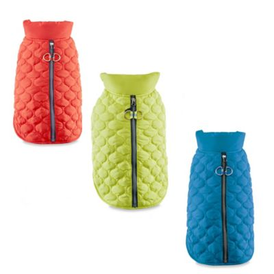 Track & Tail Benji X-Small Scallop Quilted Pet Bomber in Teal