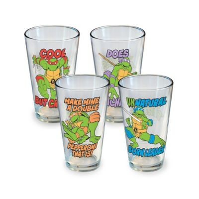 ICUP™ Teenage Mutant Ninja Turtles Phrases 16-Ounce Pint Glasses (Set of 4)