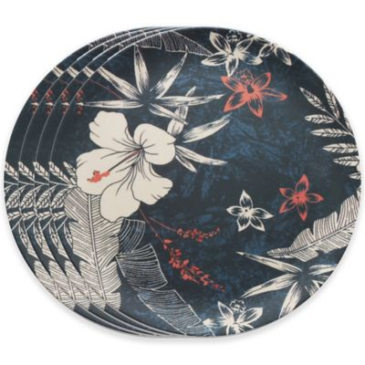 Caribbean Joe Floral Dinner Plates in Blue (Set of 4)