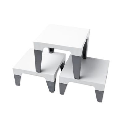 Sterling Risers Modern Tabletop Designs in White/Silver (Set of 3)