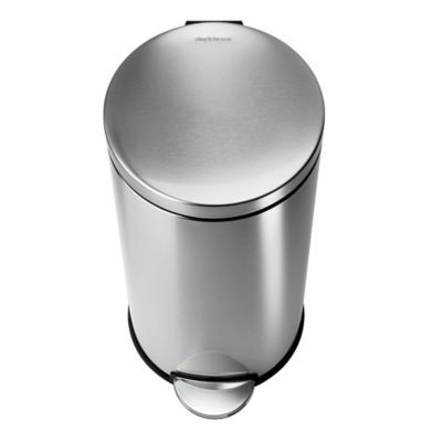 simplehuman® Brushed Stainless Steel 35-Liter Fingerprint-Poof Round Step Can