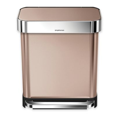 simplehuman® 30-Liter Stainless Steel Rectangular Step Can with Liner Pocket in Rose Gold
