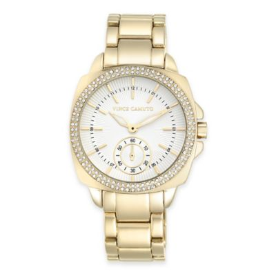 Vince Camuto® Ladies' 38mm Swarovski-Accent Watch in Goldtone Stainless Steel