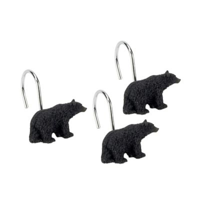 Avanti Black Bear Lodge Bath Shower Curtain Hooks (Set of 12)