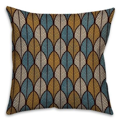 Leaf Print 16-Inch Square Throw Pillow in Gold/Blue