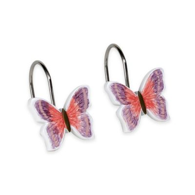 Rainbow Butterfly Shower Curtain Hooks (Set of 12)