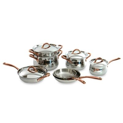 BergHOFF® 11-Piece Ouro Cookware Set with Rose Gold Coated Handles