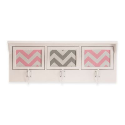 Glenna Jean Swizzle 3-Opening Photo Hanger Shelf in Pink/White