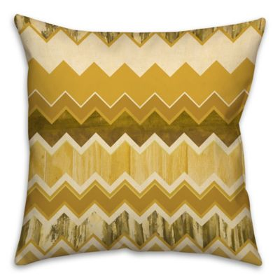 Chevron Stripe 16-Inch Square Throw Pillow in Gold