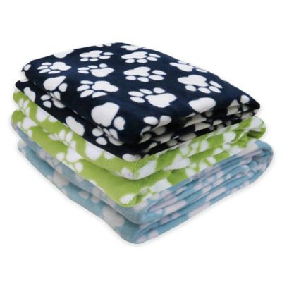 Park B. Smith® PB Paws Pet World Paws Fleece Throw Blanket in Blue/White