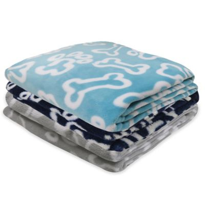 Park B. Smith® PB Paws Pet Puppy Paws Fleece Throw Blanket in Silver/White