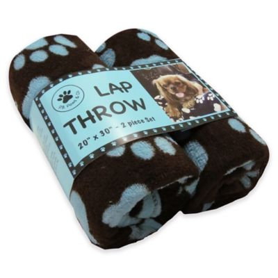 Park B. Smith® PB Paws Pet World Paws 2-Pack Fleece Throw Blankets in Coffee Bean/Light Aegean