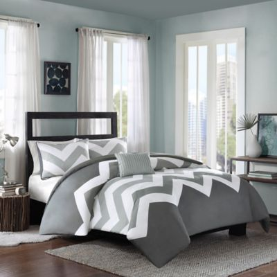 Intelligent Design Cade Full/Queen Reversible Duvet Cover Set in Grey