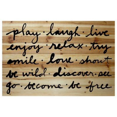 "Marmont Hill ""Play Laugh Live"" 36-Inch x 24-Inch Wood Wall Art"