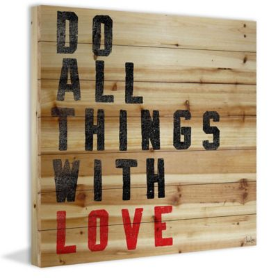 "Marmont Hill ""Do All Things With Love"" 24-Inch x 24-Inch Wood Wall Art"