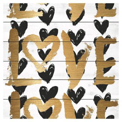Parvez Taj Love and Black Hearts 32-Inch x 32-Inch White Wood Wall Art