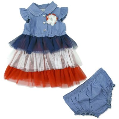 Blue Dress and Diaper Cover Set