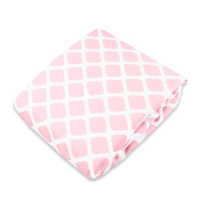 kushies® Flannel Portable Play Pen Fitted Sheet in Lattice Pink