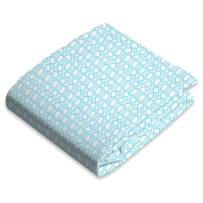 kushies® Flannel Portable Play Pen Fitted Sheet in Octagon Blue