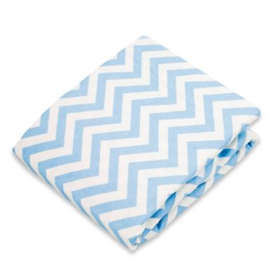 kushies® Flannel Portable Play Pen Fitted Sheet in Chevron Blue