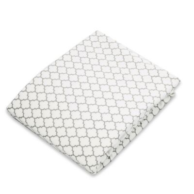 kushies® Flannel Portable Play Pen Fitted Sheet in Ornament Light Grey