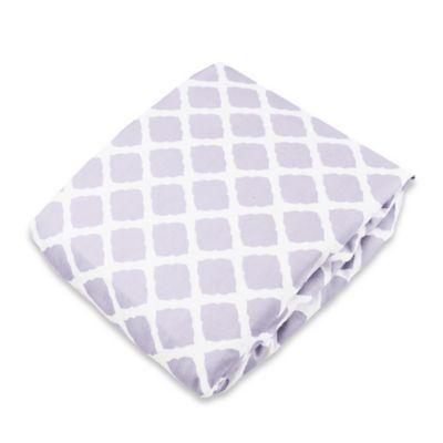 kushies® Flannel Portable Play Pen Fitted Sheet in Lattice Lilac